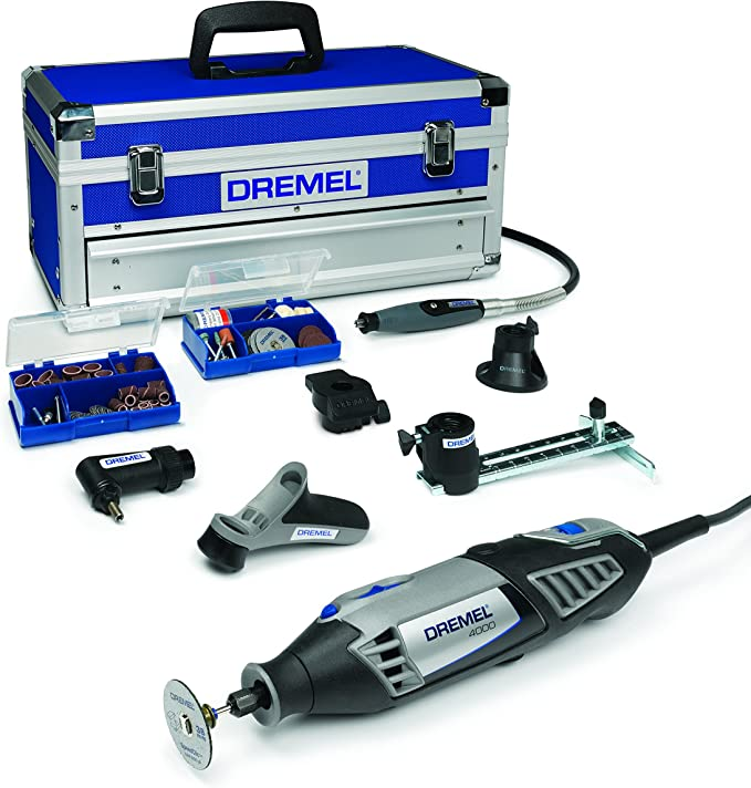 Dremel Platinum Edition 4000 - Multiherramienta, 175 W, kit con 6 complementos, 128 accesorios, velocidad 5.000 - 35.000 rpm para tallar, fresar, amolar, limpiar, pulir, cortar, lijar y grabar: Amazon.es: Bricolaje y herramientas
