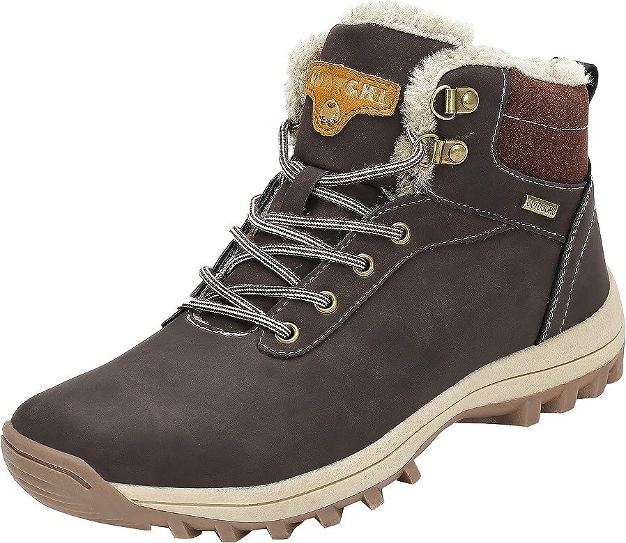 Mishansha Hombre Mujer Botas de Nieve Invierno Botines Senderismo Impermeables Deporte Trekking Zapatos Fur Forro Aire Libre Boots,Marrón 36 EU: Amazon.es: Zapatos y complementos