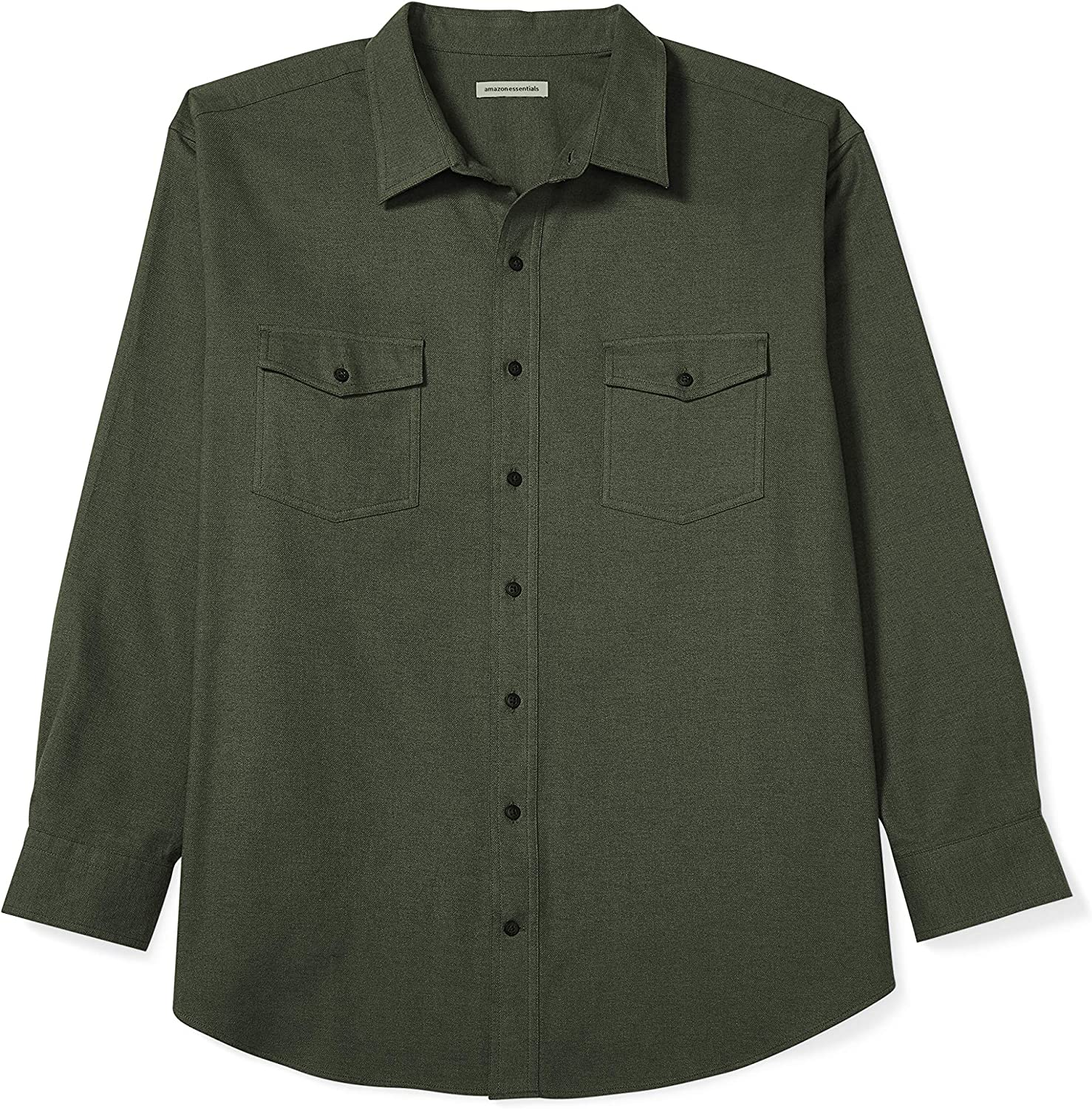 Essentials Mens Big /& Tall Long-Sleeve Solid Flannel Shirt fit by DXL