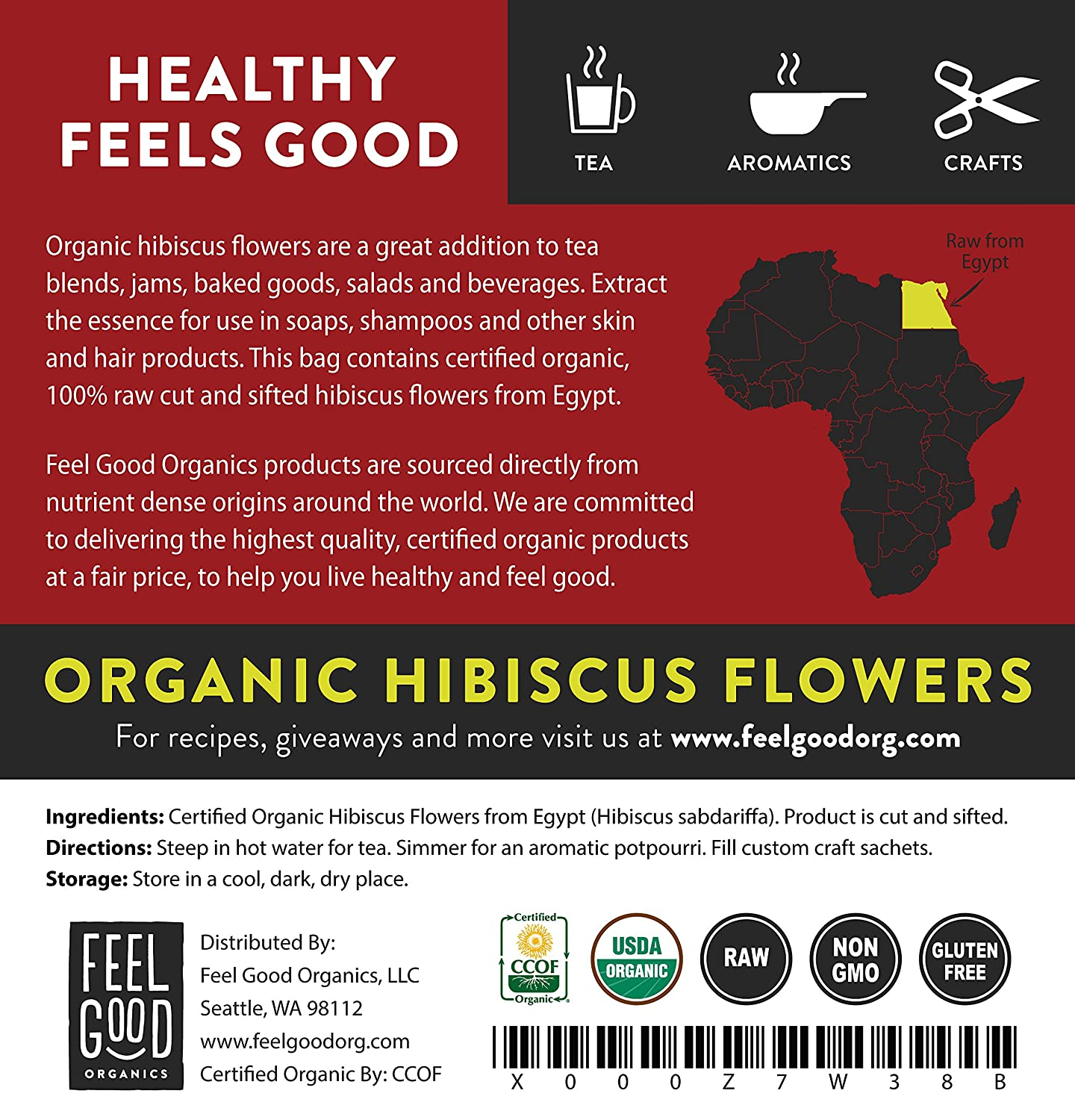 Amazon Organic Hibiscus Flowers Cut Sifted 8oz