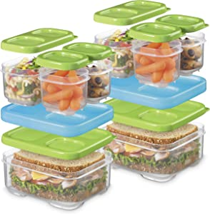 Rubbermaid LunchBlox Sandwich and Meal Prep, 2 Pack Set | Stackable & Microwave Safe Lunch Containers | Assorted Colors, Green