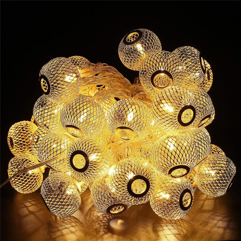 ShinePick Guirnalda de Luces 9.5M 50 LED Guirnalda Luminosa para Exterior Cadena de luces Decorativas para Jardín Patio Bodas Terraza Árbol de Navidad (Multicolor) [Clase de eficiencia energética A+++]