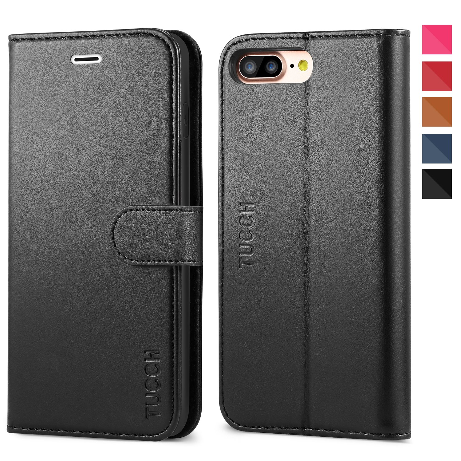 iPhone 8 Plus Wallet Case, iPhone 7 Plus Case, TUCCH Premium PU Leather Flip Folio Case with Card Slot, Stand Holder, Magnetic Closure [TPU Shockproof Interior Case] Compatible iPhone 7/8 Plus, Black by TUCCH