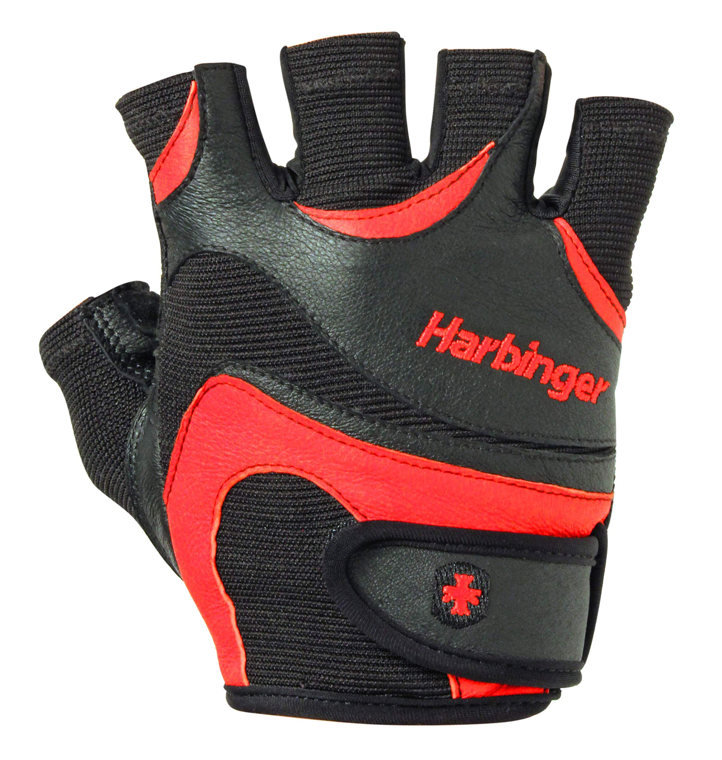 Harbinger FlexFit Non-Wristwrap Weightlifting Gloves with Flexible Cushioned Leather Palm (Pair), Red/Black, Large by Harbinger