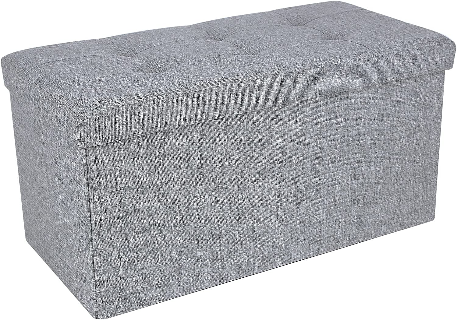 SONGMICS Storage Ottoman Bench, Chest with Lid, Foldable Seat, Bedroom, Hallway, Space-Saving, 80L Capacity, Hold up to 660 lb, 30 x 15 x 15 Inches, Light Gray ULSF47G