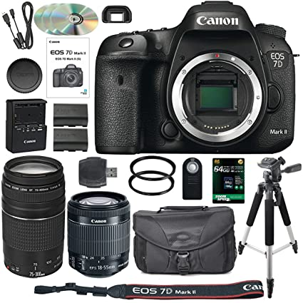 Canon EOS 7D Mark II DSLR Camera Bundle with Canon EF-S 18-55mm IS STM Lens  + Canon 75-300mm III Telephoto Lens + 64GB Memory Card + Camera Case -