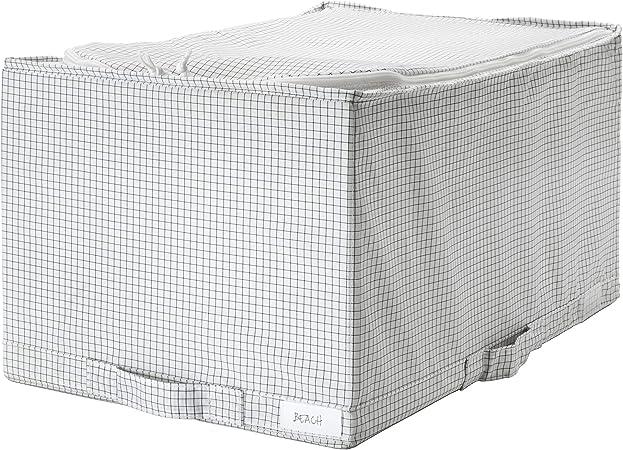 MBI - Caja de almacenaje (34 x 51 x 28 cm), Color Blanco y Gris: Amazon.es: Hogar