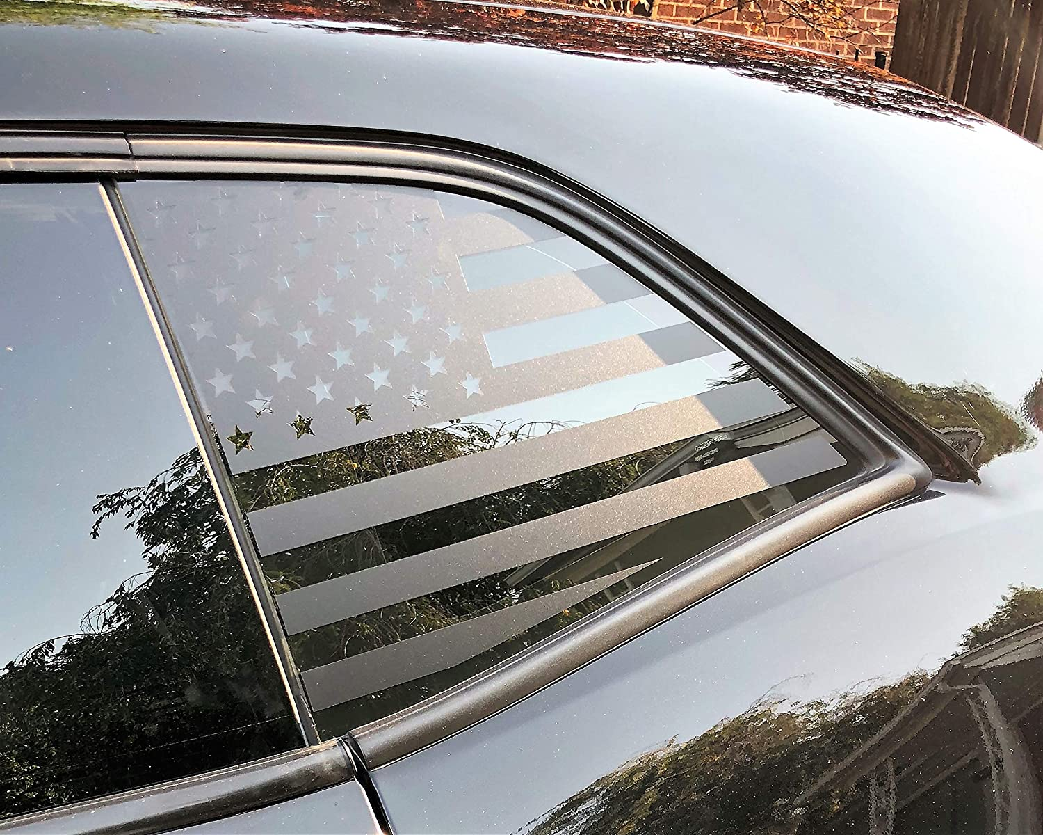 Elevated Auto Styling - American Flag Window Decal Fits Dodge Challenger 2008-2020