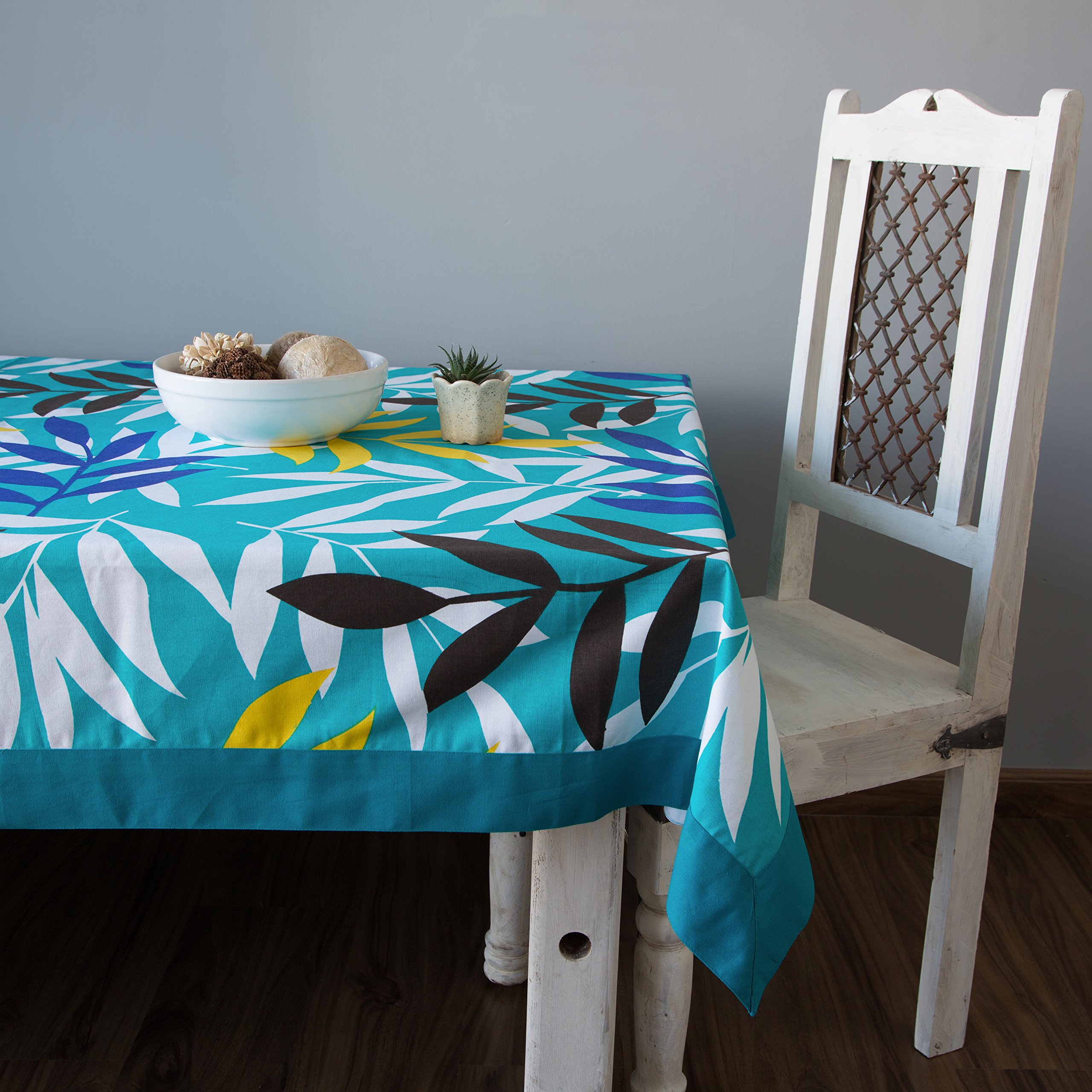 ShalinIndia Colorful Cotton Spring Floral Rectangular Tablecloths For Dinning Tables -144x60-Inches Turquoise Border