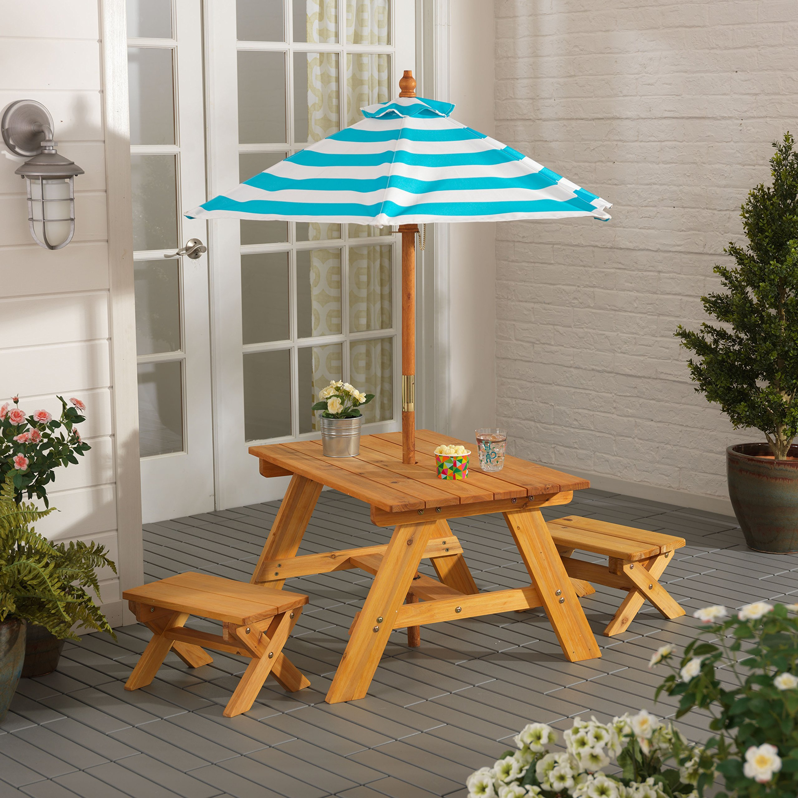 Outdoor Table w/ Benches & Umbrella by KidKraft