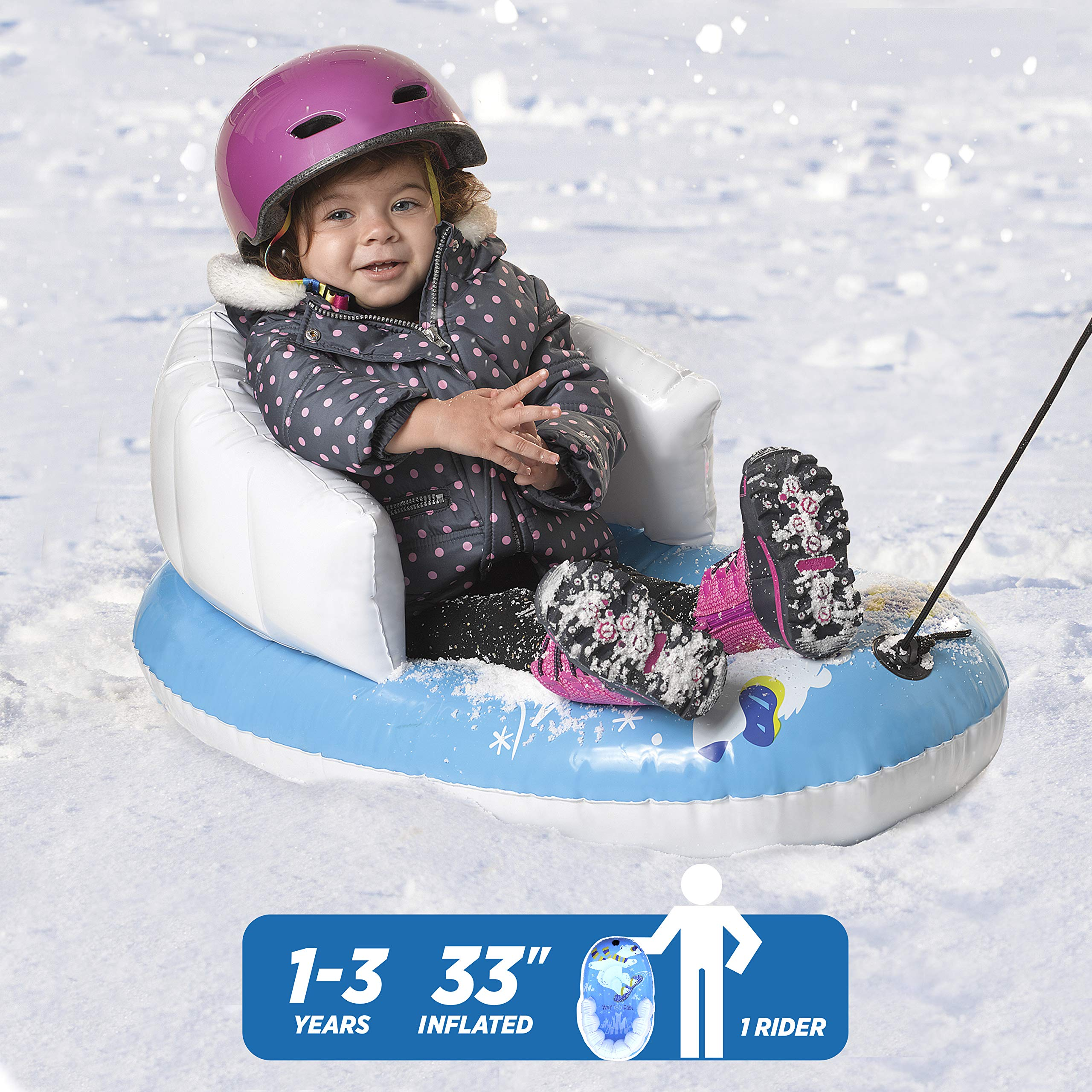 """Pipeline Sno Polar Bear Snow-Pal Inflatable Kids Snow Tube with High Back Seat and Repair Kit, 33"""" Inches Long by Pipeline Sno (Image #2)"""