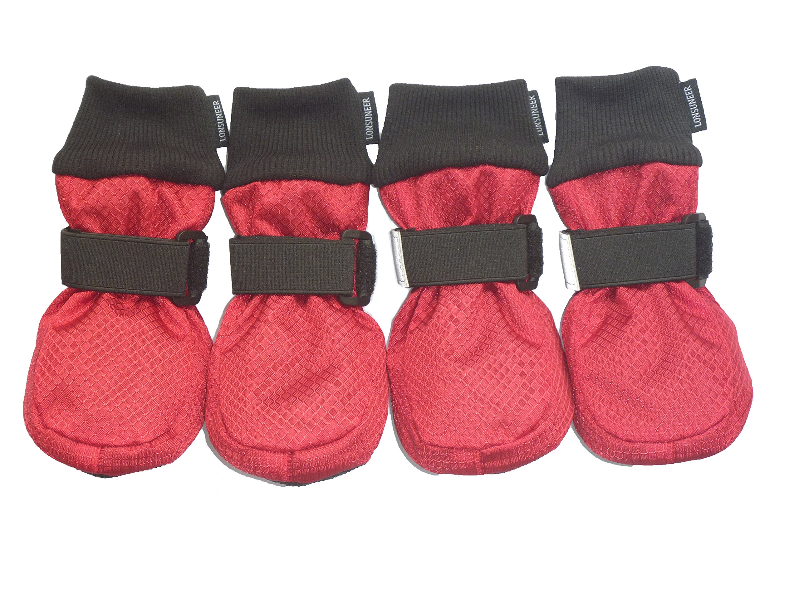 LONSUNEER Winter Paw Protector Dog Boots Waterproof Soft Sole and Nonslip Set of 4 Color Red Size XL
