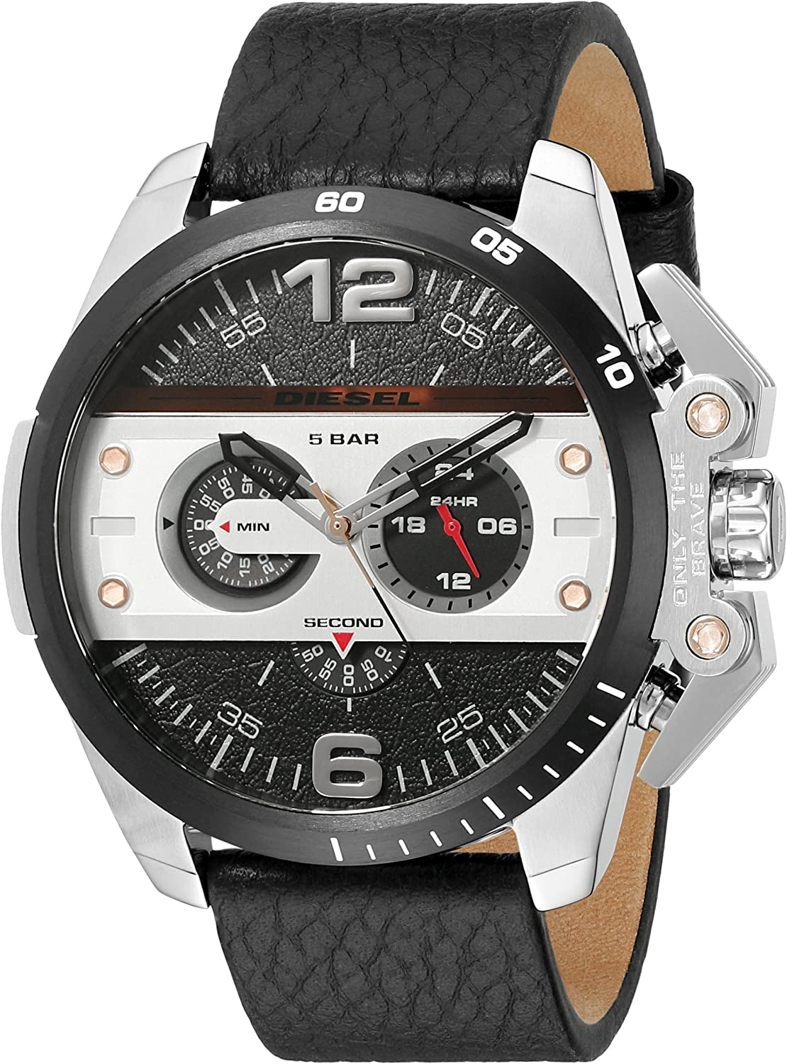 Diesel Men s DZ4361 Ironside Stainless Steel Watch with Black Leather Band