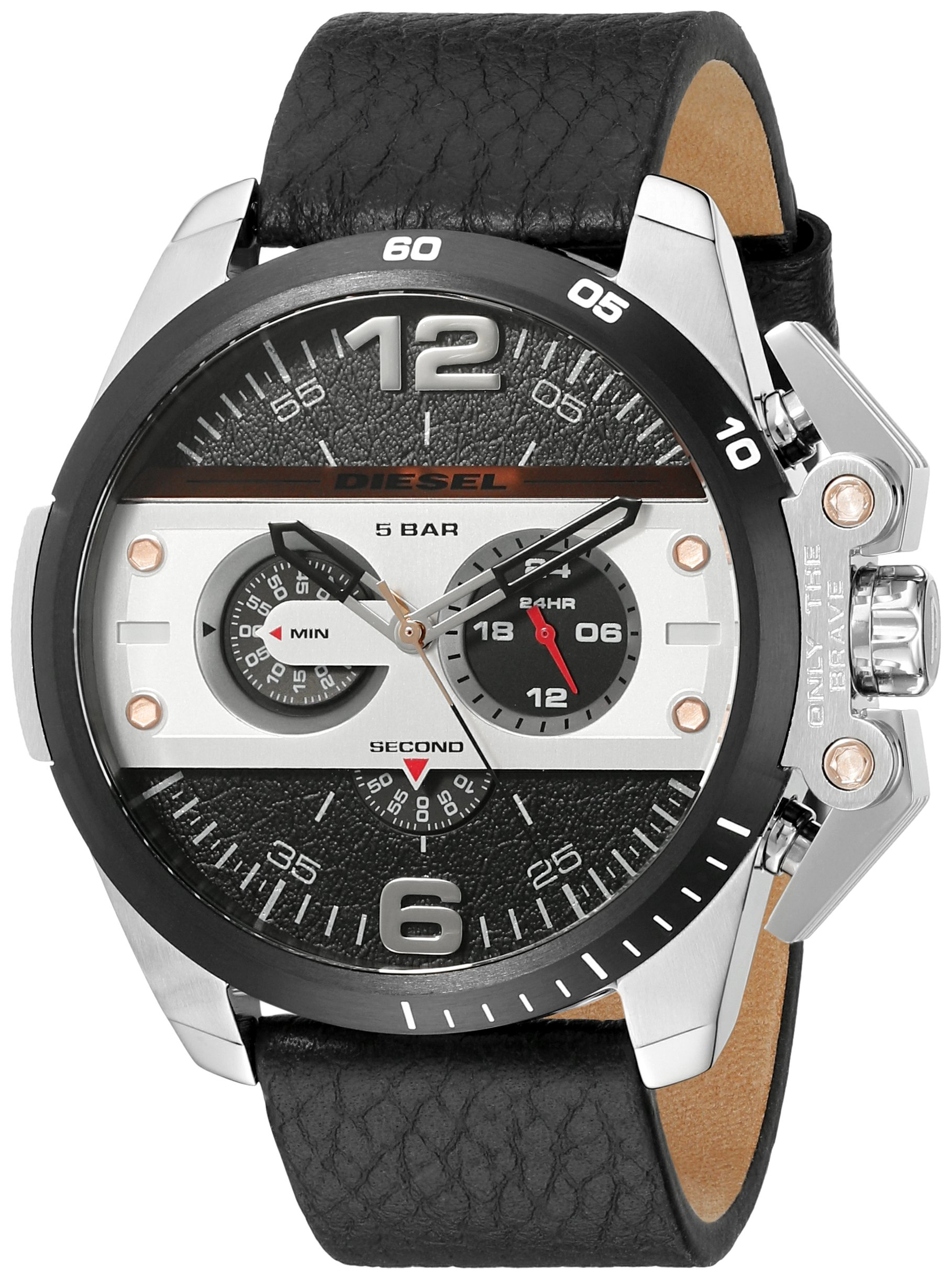 Diesel Men's DZ4361 Ironside Stainless Steel Watch with Black Leather Band