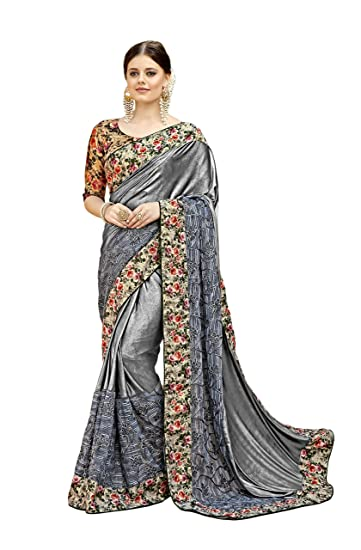 c159e78b18 Tadla Enterprises Women's Printed and Glitter Coding Work Lycra Net Saree  in Grey: Amazon.in: Clothing & Accessories