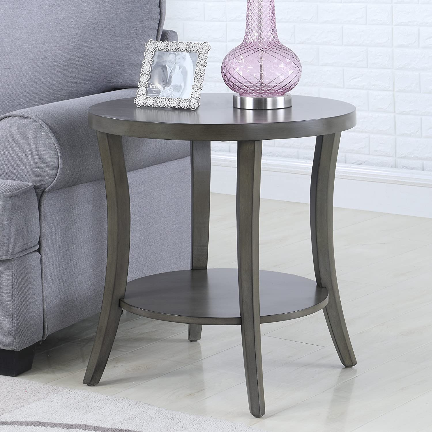 Roundhill Furniture Perth Contemporary Oval Shelf End Table, Gray