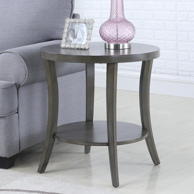 Admirable Roundhill Furniture Perth Contemporary Oval Shelf End Table Gray Uwap Interior Chair Design Uwaporg