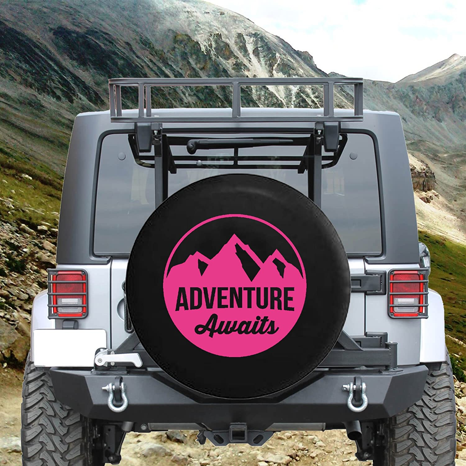 Adventure Awaits Mountain View Spare Tire Cover fits SUV Camper RV Accessories Gray Ink 29 in