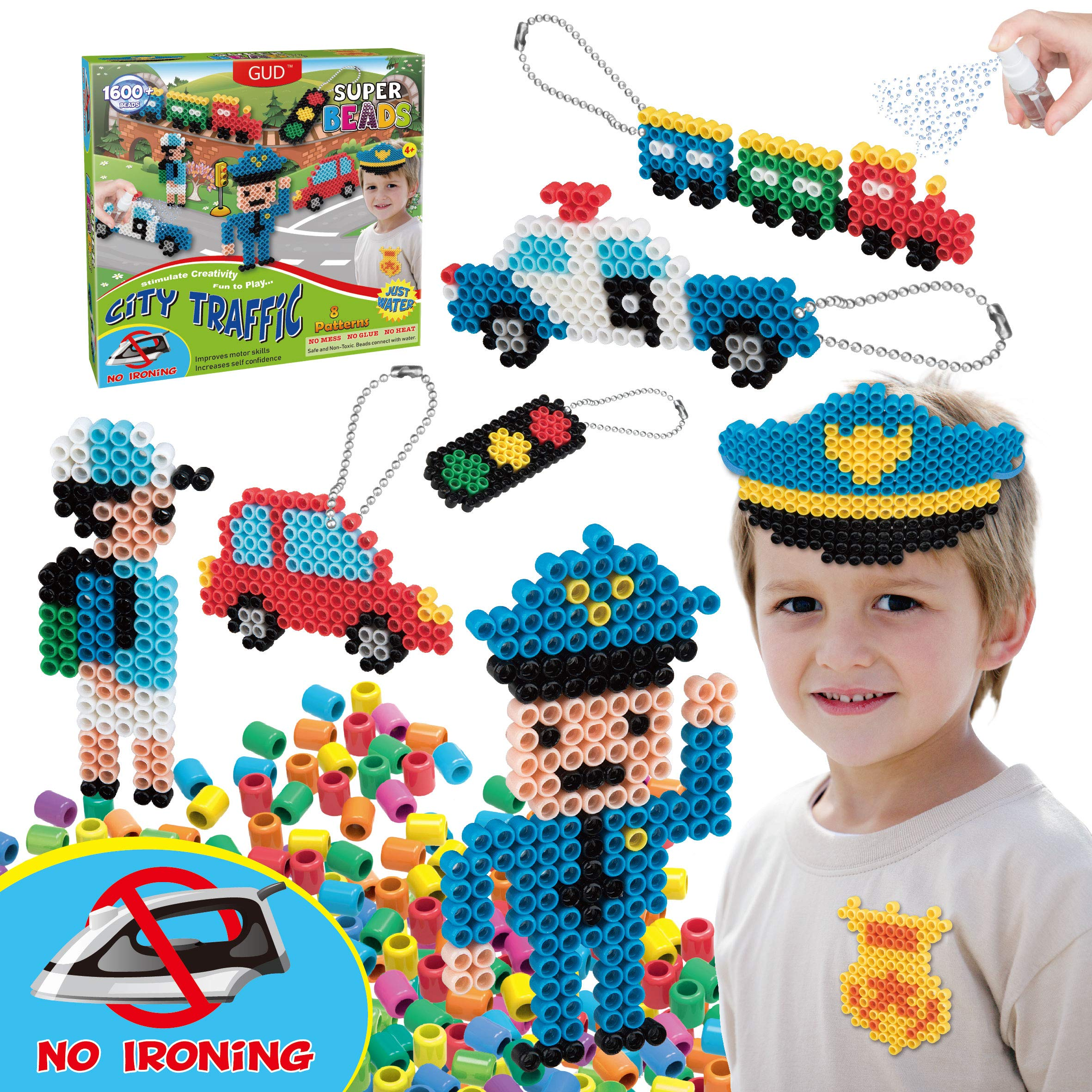 Kids DIY Water Fuse Non Iron Super Beads for Boys Arts and Crafts Toy Set. Boys Indoor Activity Fun Project City Traffic Crafts Kit for Boy. Birthday Gift Age 4 5 6 7 8 9 Year Old Boy Present Perler by GUD