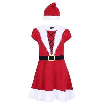 6625f3cf90852 Damen Weihnachtsfrau Kostüm Weihnachten Karneval Strickkleid mit ...