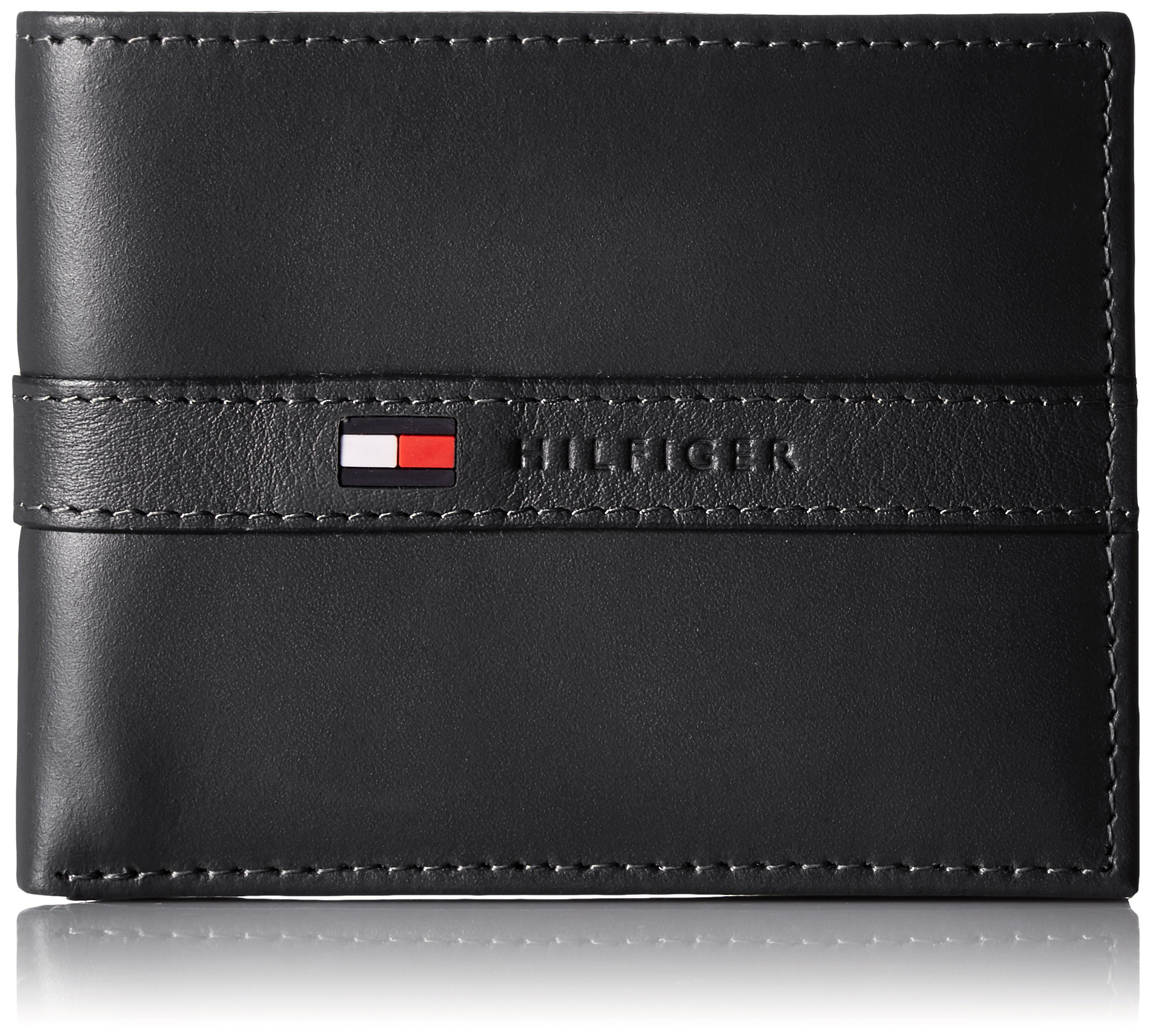 Tommy Hilfiger Men's Leather Wallet - Thin Sleek Casual Bifold with 6 Credit Card Pockets and Removable ID Window, Black
