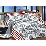 Ahmedabad Cotton Printed 180 TC Sateen Double Bedsheet with 2 Pillow Covers - Grey