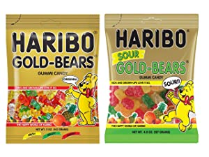 Haribo Gold-Bears Gummi Candy 5 oz Bag & Haribo Sour Gold-Bears Gummi Candy 4.5 oz Bag