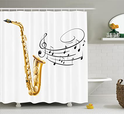 ambesonne music shower curtain illustration of fancy old saxophone with template solo vibes art print - Musical Shower Curtains