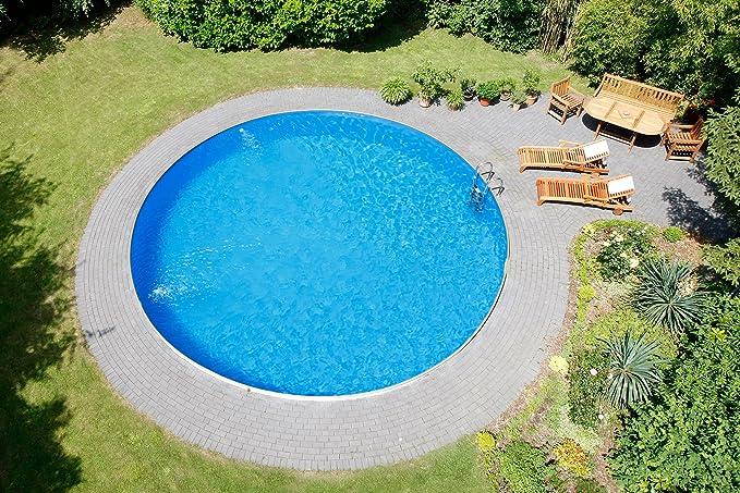 Piscina Deluxe de forma redonda, Diámetro 4, 50 x 1, 20 m, pared de acero de 0, 6 mm, lona azul de 0, 6 mm, escalera de acero inoxidable 2 x 4 peldaños ...