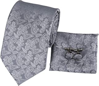 Hi-Tie Paisley Plaids Woven Silk Tie Set Necktie With Handkerchief Cufflinks Gift set