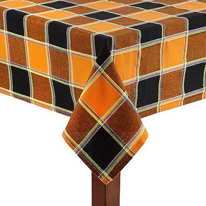 Gentil Nantucket Home Black Orange Purple Plaid Square Cotton Jacquard Tablecloth  (52u0026quot; X 70u0026quot;