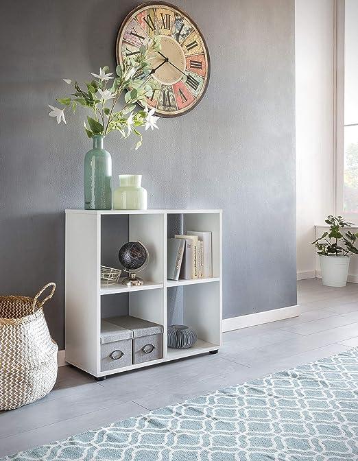 Wohnling Diseño Estante Zara con 4 Compartimentos Color Blanco 70 x 72 x 29 cm | Estantería Madera, pie | Carpeta Estantería biombos Dados de estantería ...