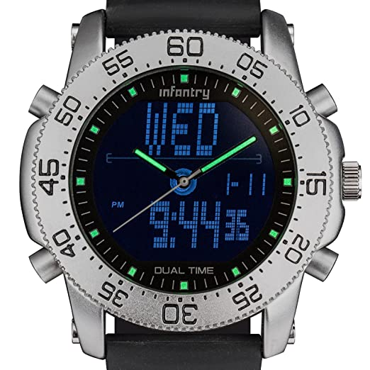 0bad7749a3ca Infantry Mens Analogue-Digital Wrist Watch Chronograph Alarm Date Military  Silver Case Black Rubber Strap  Amazon.co.uk  Watches