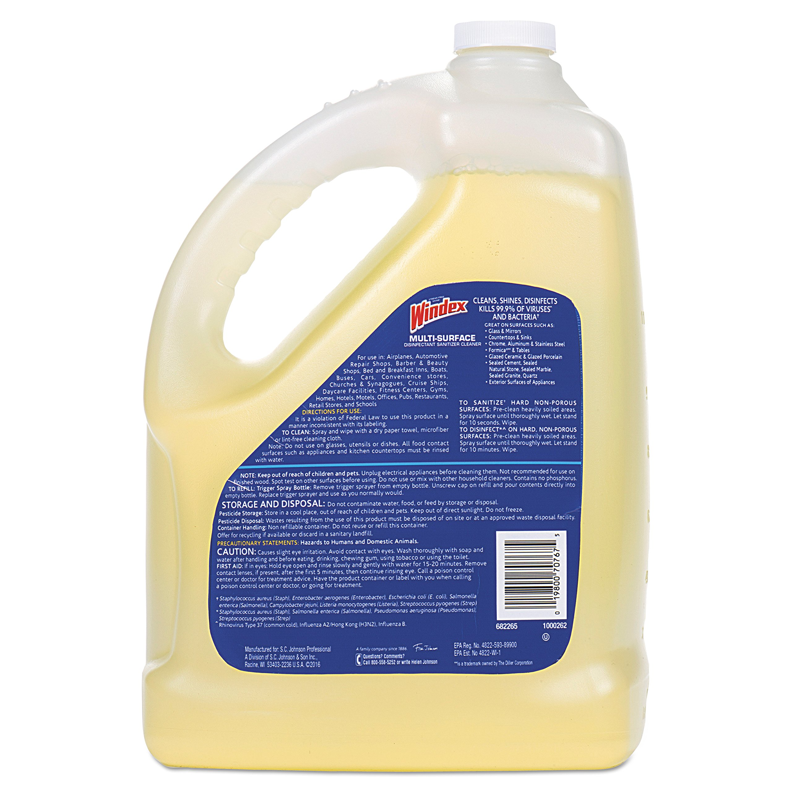 Windex 657067 T Multi-Surface Disinfectant Cleaner, Citrus, 1 gal Bottle (Case of 4) by Windex (Image #4)