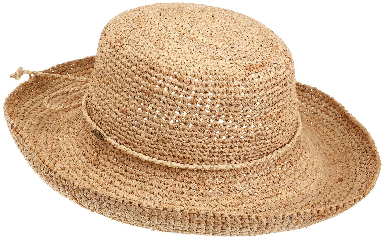78f0dbd8d4375b Womens Packable Fedora Sun Hat - Parchment'N'Lead