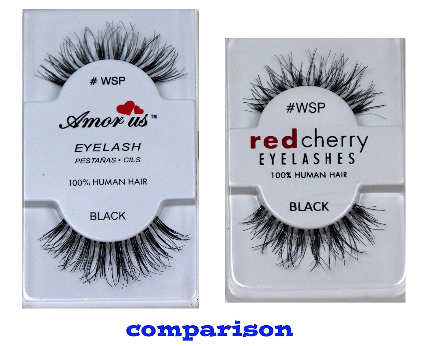 Amorus 100 Human Hair False Eyelashes Wsp 6 Pack Compare Red