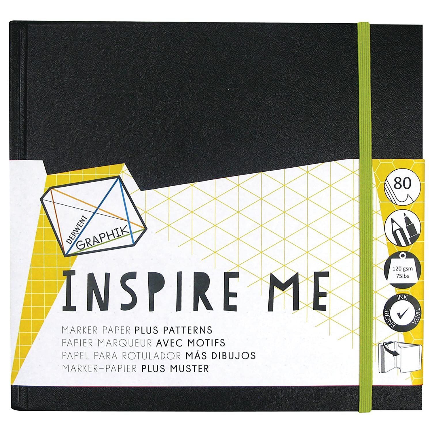 Derwent Small Sketch Book, Graphik Inspire Me, 80-Pages of Bleed Proof Patterned Paper (2302236) Reeves
