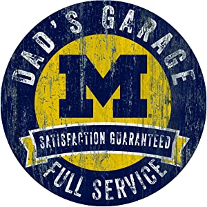"Fan Creations NCAA Michigan Wolverines 12"" Round Dad's Garage Wood Sign"