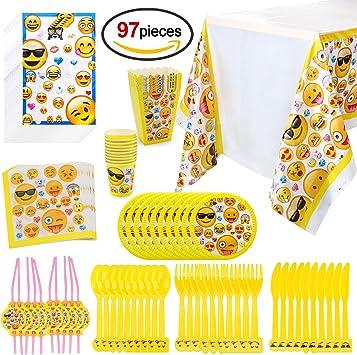 Howaf Emoji Kit de Mesa Party Fiesta de Infantiles cumpleaños, (97 ...
