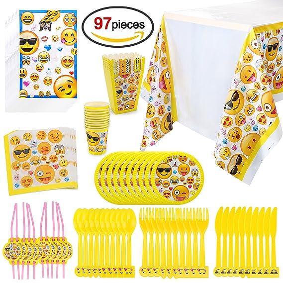 Howaf Emoji Kit de Mesa Party Fiesta de Infantiles cumpleaños, (97 Piezas: Juego de Cena, Cubertería, Platos, Vasos Desechables, servilletas, Mantel, ...