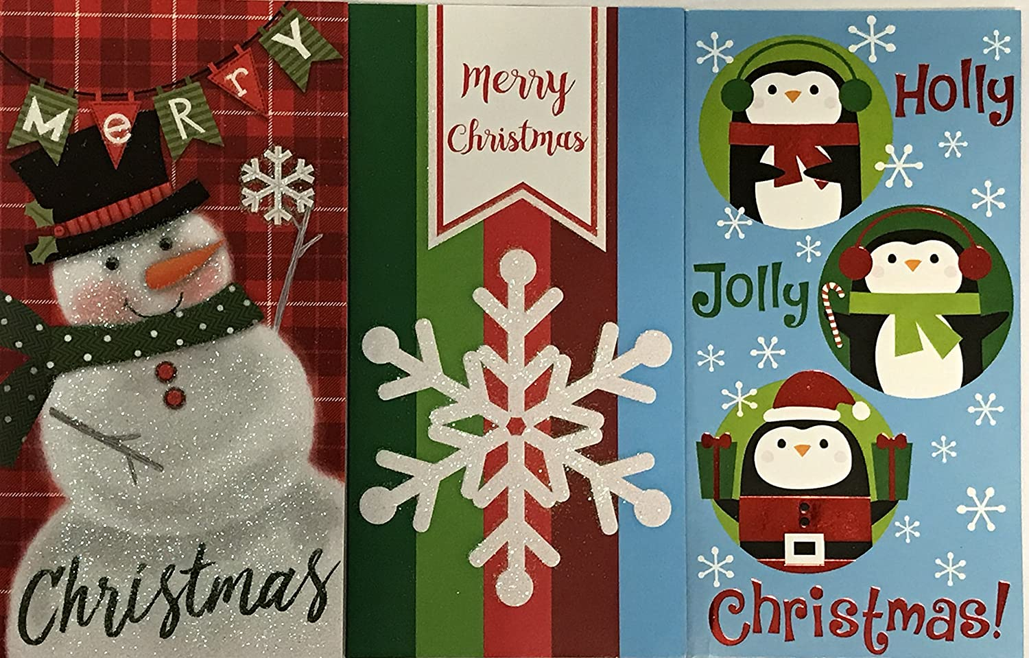 24 Christmas Gift Card Holders with Envelopes Money Card Holder; 3 Packs of 8 Santa Bright Assorted Styles