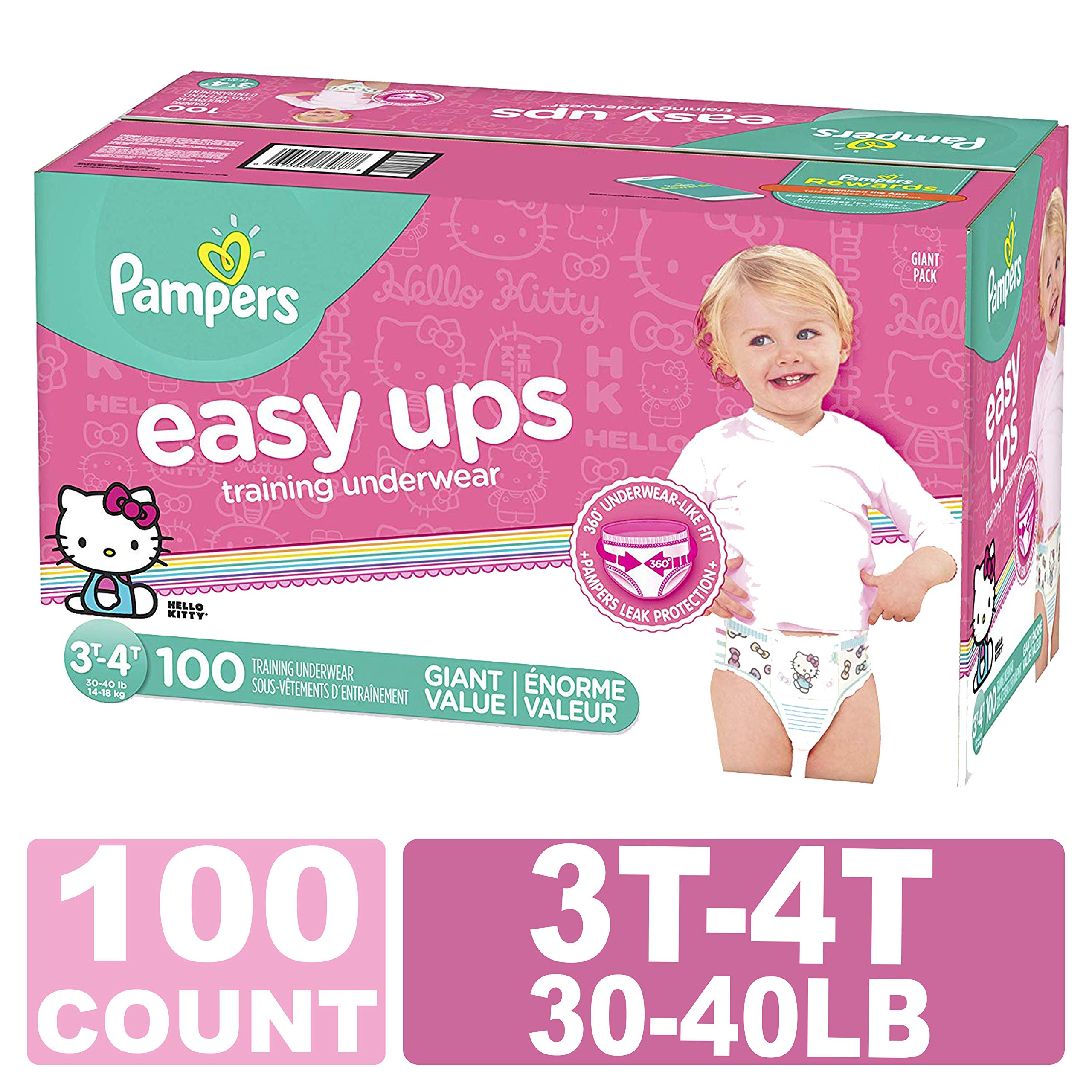 Pampers Easy Ups Training Pants Pull On Disposable Diapers for Girls,  Size 5 (3T-4T), 100 Count, Giant