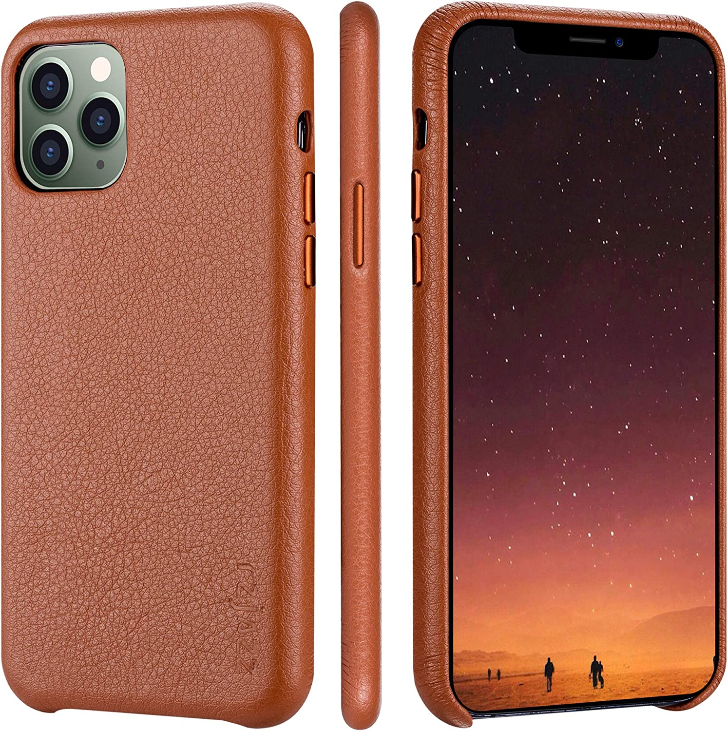 rejazz iPhone 11 pro Case Anti-Scratch Iphone11 pro Cover Genuine Leather Apple iPhone Cases for iPhone 11 pro (5.8 Inch) (Brown)