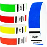 Goldistock 3/4 Tyvek Wristbands Rainbow 200 Ct. Variety Pack- 40 Each: Neon Blue, Green, Yellow, Orange, Red