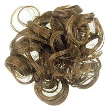 Amazon light brown dark blonde mix hair extension scrunchie light brown dark blonde mix hair extension scrunchie up do topper curly twister pmusecretfo Image collections