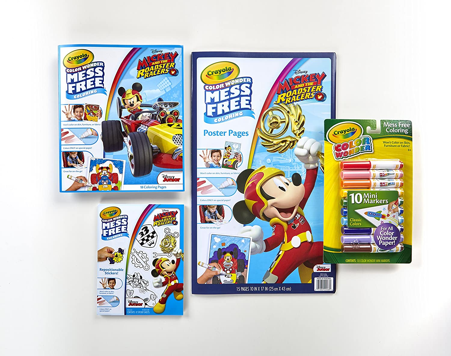 Amazon Crayola Color Wonder Mess Free Mickey Mouse Bundle 18 Coloring Pages 15 Poster Sticker Sheets Mini Markers Toys Games