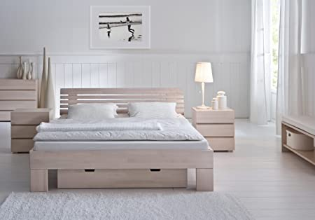 Bed 210 160.Style Bed Wood Bed Stilo Wood Beech Natural 160 X 210 Cm Amazon