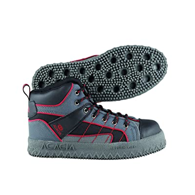Acacia Spider-Gel Broomball Shoes, Gray/Black/Red, 3: Sports & Outdoors