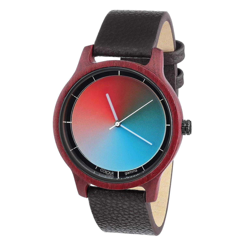 Quarz Watch Cool Gamma Armbanduhr Bamboo Rainbow Wood Unisex iPXZuk