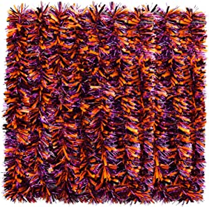 WILLBOND Halloween Tinsel Garland Black Orange and Purple Shiny Garland Metallic Hanging Decorations for Halloween Party Indoor and Outdoor Decorations